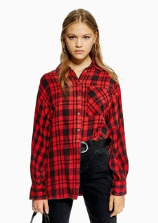 Topshop Petite Check Oversized Shirt