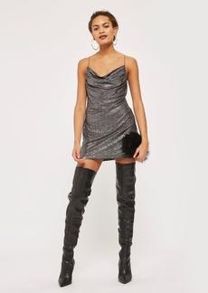 Petite Cowl Metallic Slip Dress