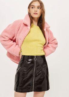 Petite Cracked Vinyl Mini Skirt