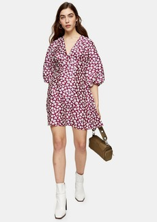 Topshop Petite Daisy Floral Print Puff Mini Dress