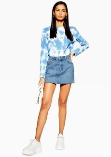 Topshop Petite Mid Blue Denim Mini Skirt