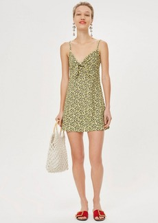 Topshop Petite Ditsy Knot Front Slip Dress