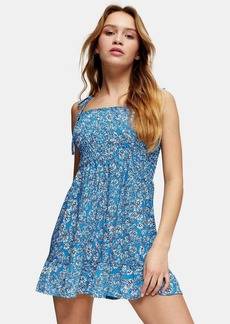 Topshop Petite Ditsy Shirred Flippy Dress