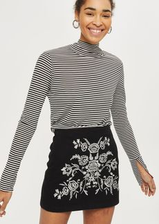 Petite Embroidered A Line Skirt