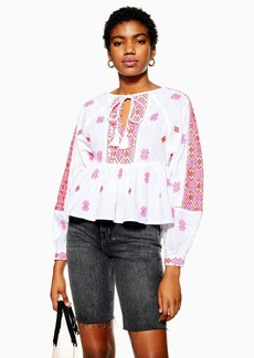 Topshop Petite Embroidered Smock Blouse