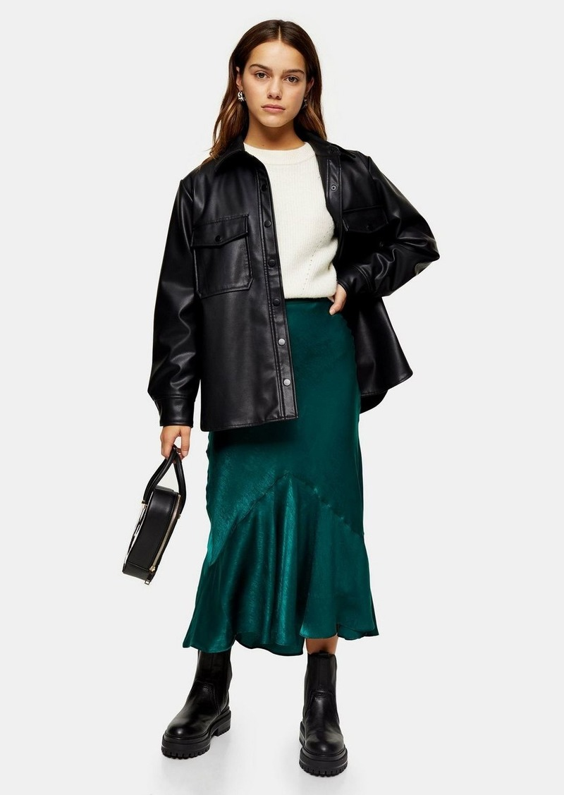 Topshop Petite Emerald Green Satin Flounce Midi Skirt