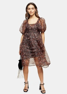 Topshop Petite Fallen Floral Print Organza Tiered Dress