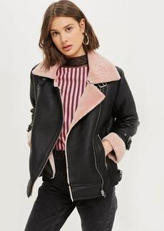 Topshop Petite Faux Shearling Biker Jacket