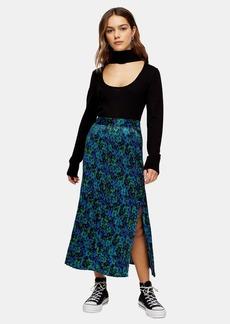 Topshop Petite Floral Crystal Print Pleated Skirt