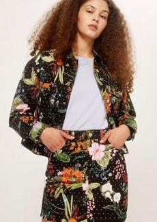 Topshop Petite Floral Crystal Skirt