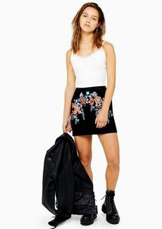 Topshop Petite Floral Denim Skirt