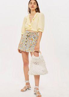 Topshop Petite Floral Tie Button Skirt