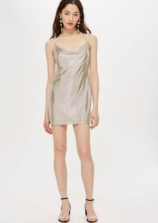 Topshop Petite Foil Cowl Mini Dress