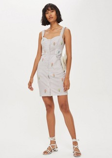 Topshop Petite Gingham Embroidered Pinafore Dress