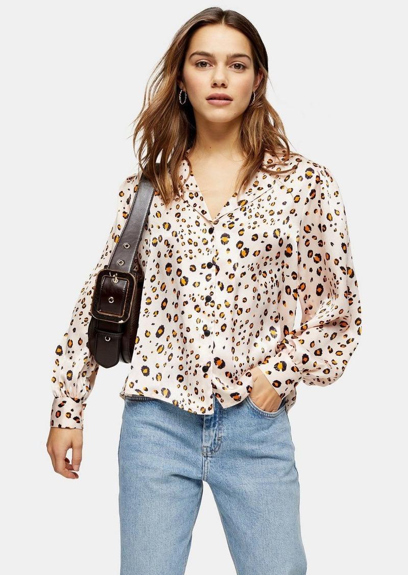 Topshop Petite Golden Animal Print Shirt