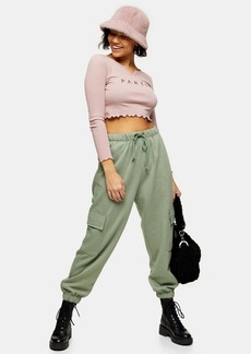 Topshop Petite Green S Joggers With Cargo Pockets