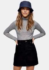 Topshop Petite Grey Fine Funnel Neck Knitted Top