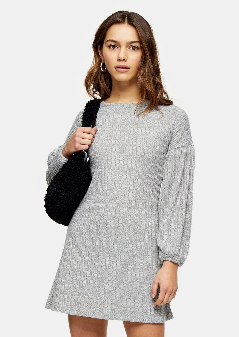 Topshop Petite Grey Marl Cut And Sew Balloon Mini Dress