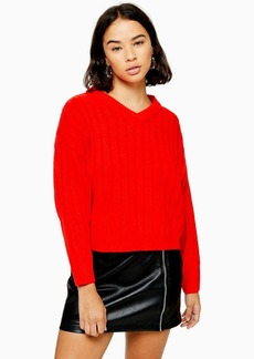 Topshop Petite High Neck Red Jumper