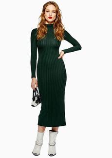 Topshop Petite High Neck Rib Midi Dress
