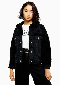 Topshop Petite Hybrid Borg Denim Jacket