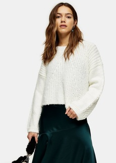 Topshop Petite Ivory Chevron Neppy Cropped Sweater