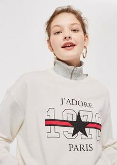 Topshop Petite Jadore Logo Sweatshirt