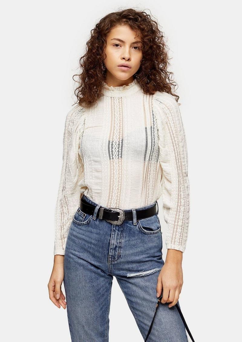 Topshop Petite Lace Crinkle Cold Shoulder Blouse