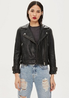 Topshop Petite Leather Biker Jacket