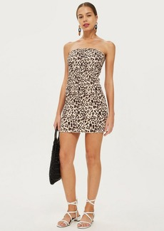 Topshop Petite Leopard Bandeau Bodycon Dress