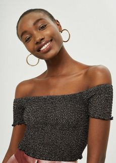 Topshop Petite Metal Shirred Bardot Top