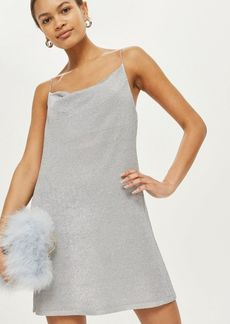 Topshop Petite Metal Yarn Cowl Neck Slip Dress