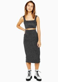 Topshop Petite Metallic Ribbed Midi Skirt