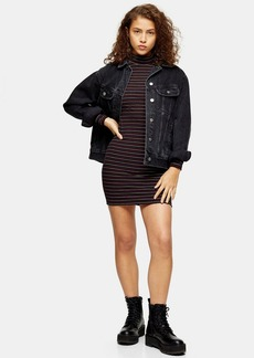 Topshop Petite Metallic Thread Stripe Funnel Neck Dress