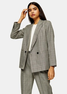 Topshop Petite Mint Check Double Breasted Blazer