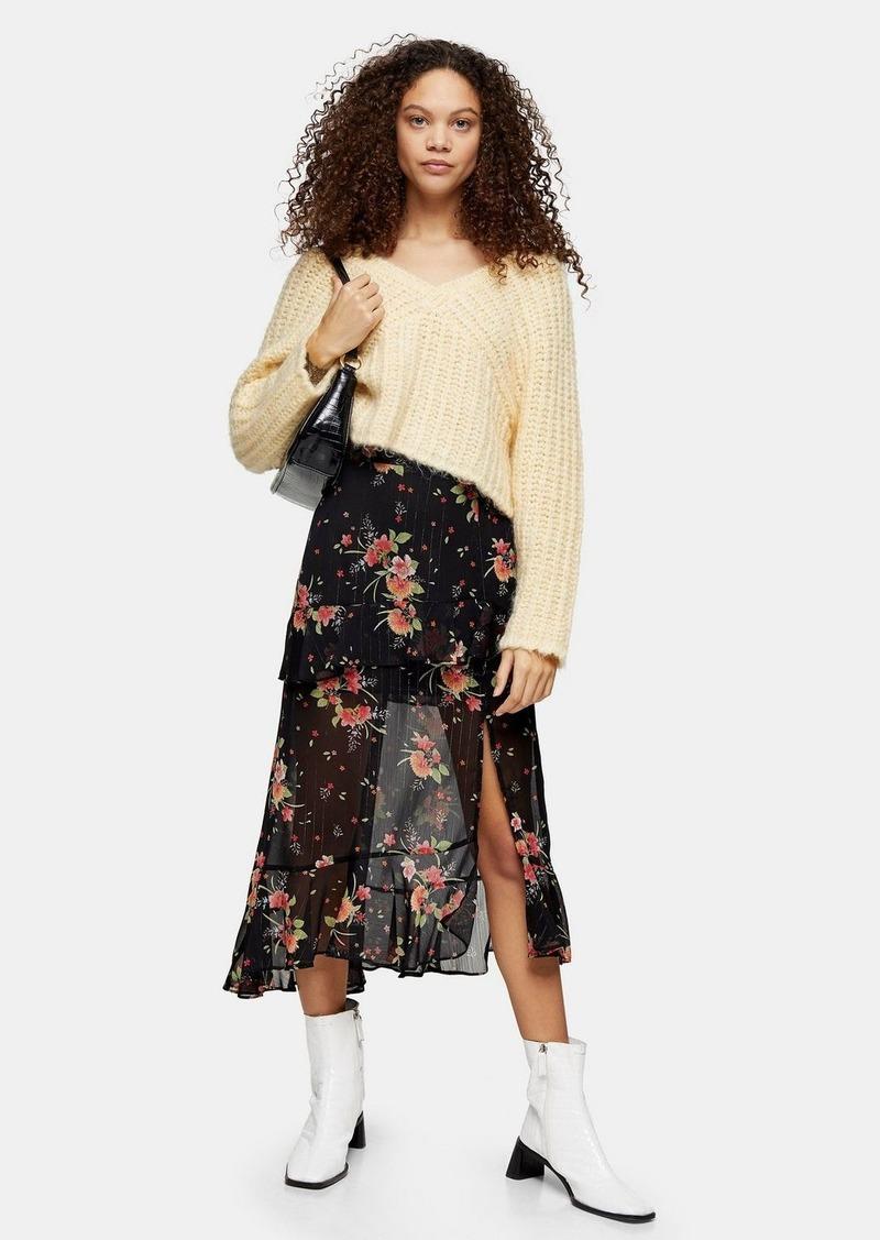 Topshop Petite Multi Floral Flounce Midi Skirt
