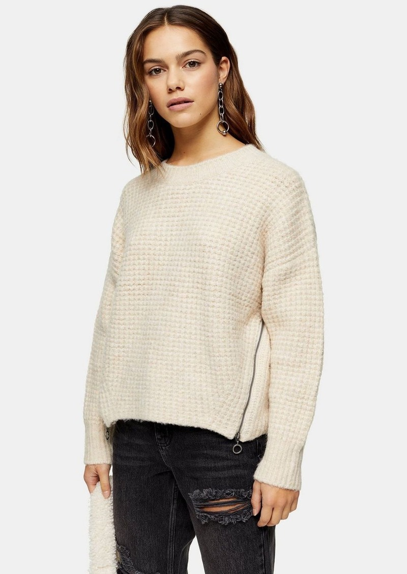 Topshop Petite Oatmeal Knitted Waffle Jumper