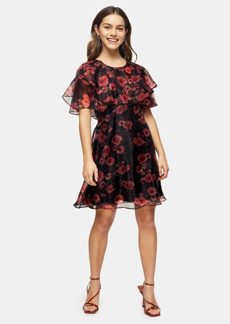 Topshop Petite Organza Floral Mini Dress