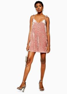 Topshop Petite Pink Velvet Star Glitter Slip Dress