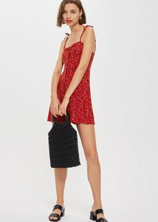 Topshop Petite Printed Button Through Mini Dress