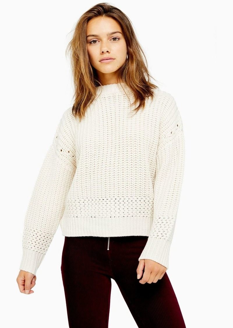 Topshop Petite Ivory Recycled Crew Neck Sweater