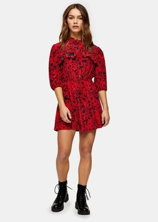 Topshop Petite Red Animal Mini Shirt Dress