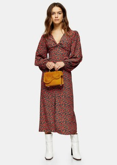 Topshop Petite Red Rose Print Godet Twist Front Midi Dress