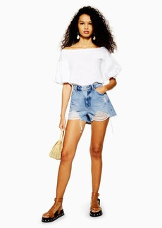 Topshop Petite Ripped Denim Mom Shorts