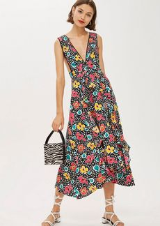 Topshop Petite S Floral Pinafore Dress