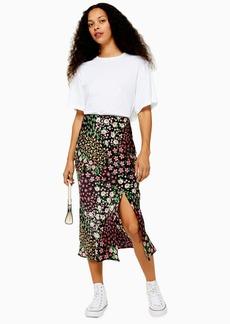 Topshop Petite San Diego Black Patchwork Floral Bias Skirt