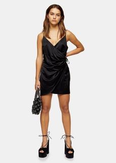 Topshop Petite Satin Wrap Mini Dress