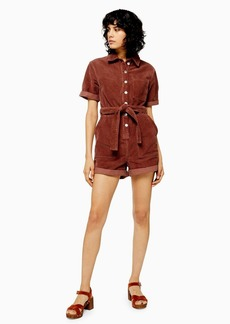 Topshop Petite Seattle Button Corduroy Playsuit