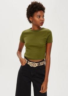 Topshop Petite Short Sleeve Scallop T Shirt