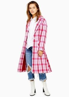 Topshop Petite Side Split Check Coat